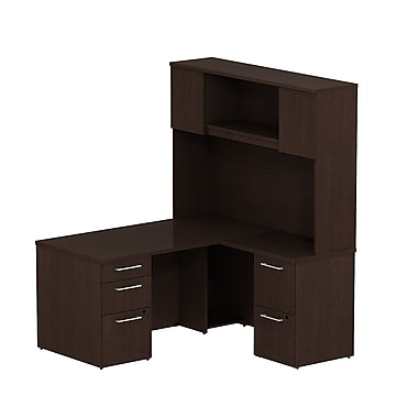 Bush Business Furniture Emerge 60W x 30D L Shaped Desk with Hutch and 2 Pedestals Installed, Mocha Cherry (300S052MRFA)