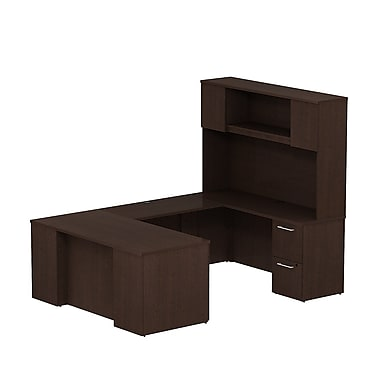 Bush 300 Series Desk U-Config with Pedestals & Tall Hutch, Mocha Cherry
