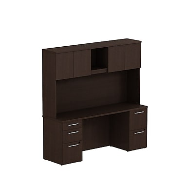 Bush Business Furniture Emerge 72W x 22D Office Desk with Hutch and 2 Pedestals Installed, Mocha Cherry (300S058MRFA)