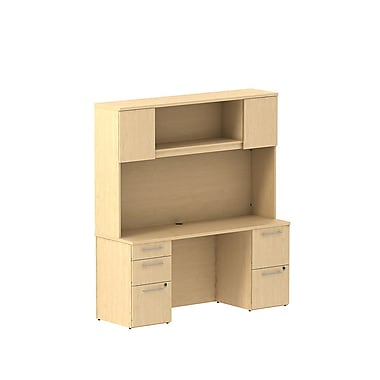 Bush Business Furniture Emerge 66W x 22D Office Desk with Hutch and 2 Pedestals Installed, Natural Maple (300S059ACFA)