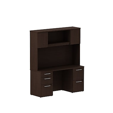 Bush Business Furniture Emerge 60W x 22D Office Desk with Hutch and 2 Pedestals Installed, Mocha Cherry (300S060MRFA)