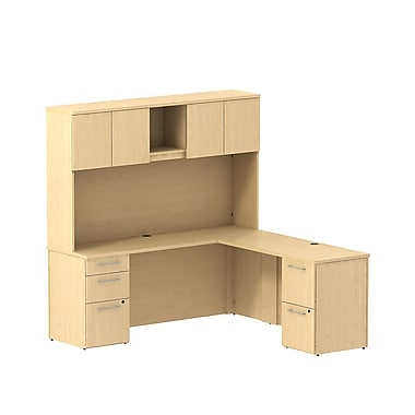 Bush Business Furniture Emerge 72W x 22D L Shaped Desk with Hutch and 2 Pedestals Installed, Natural Maple (300S061ACFA)