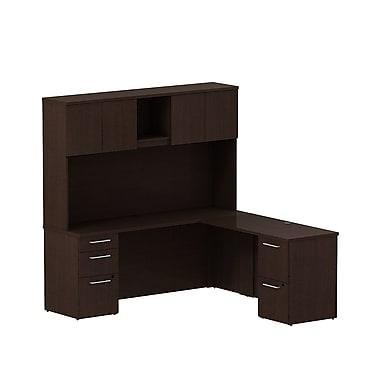 Bush Business Furniture Emerge 72W x 22D L Shaped Desk with Hutch and 2 Pedestals Installed, Mocha Cherry (300S061MRFA)