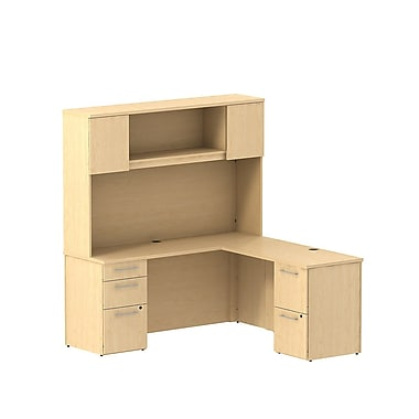 Bush Business Furniture Emerge 66W x 22D L Shaped Desk with Hutch and 2 Pedestals Installed, Natural Maple (300S062ACFA)