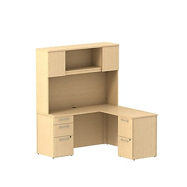 Bush Business Furniture Emerge 60W x 22D L Shaped Desk with Hutch and 2 Pedestals Installed, Natural Maple (300S063ACFA)