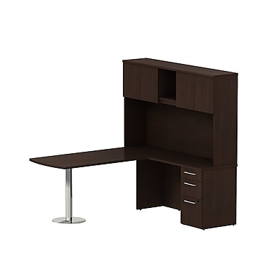Bush Business 300 Series 72W x 30D Peninsula Desk in L-Configuration with 3 Drawer Pedestal and Hutch, Mocha Cherry, Installed