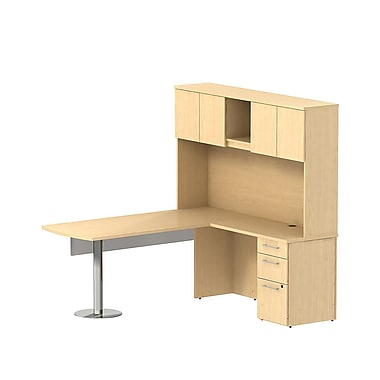 Bush 300 Series Peninsula L-Desk with Glass Panel, Pedestal & Tall Hutch, Natural Maple