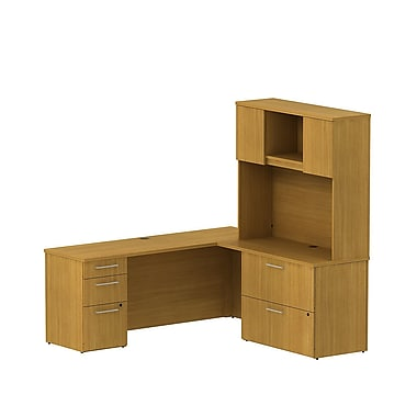 Bush Business 300 Series 72W x 22D Desk in L-Configuration with Pedestal, Lateral File and Hutch, Modern Cherry, Installed