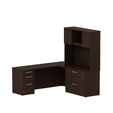 Bush Business 300 Series 72W x 22D Desk in L-Configuration with Pedestal, Lateral File and Hutch, Mocha Cherry, Installed