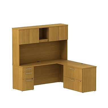 Bush Business 300 Series 72W x 22D Desk in L-Configuration w/ Pedestal, Lateral File and Hutch, Modern Cherry, Installed