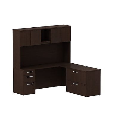 Bush Business 300 Series 72W x 22D Desk in L-Configuration w/ Pedestal, Lateral File and Hutch, Mocha Cherry, Installed