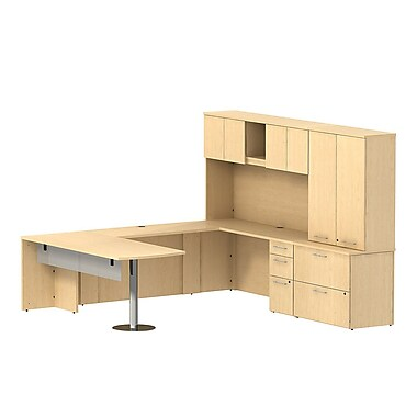 Bush Business 300 Series 72W x 30D Peninsula Desk in U-Config with Modesty Panel, Hutch & Storage, Natural Maple, Installed