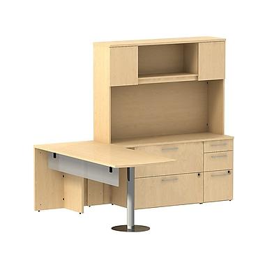Bush 300 Series Peninsula Desk with Glass Panel, Storage Credenza & Hutch, Natural Maple