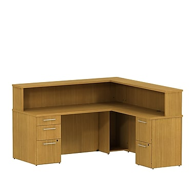 Bush 300 Series Reception L-Desk with Pedestals & Reception Hutch, Modern Cherry