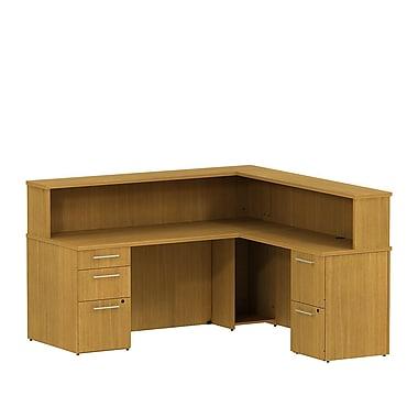Bush Business 300 Series 72W x 72D Reception L-Desk with 2 and 3 Drawer Pedestals, Modern Cherry, Installed