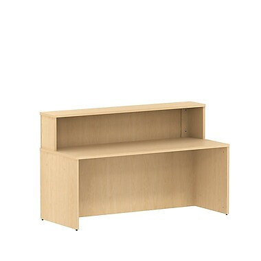 Bush 300 Series Reception Gallery Desk with Reception Hutch, Natural Maple