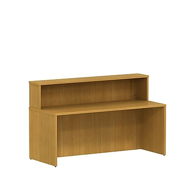 Bush 300 Series Reception Gallery Desk with Reception Hutch, Modern Cherry