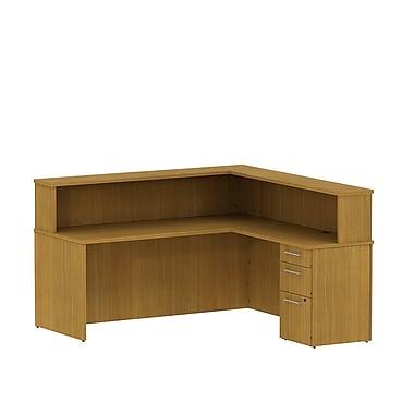 Bush 300 Series Reception Desk with Pedestal & Reception Hutch, Modern Cherry