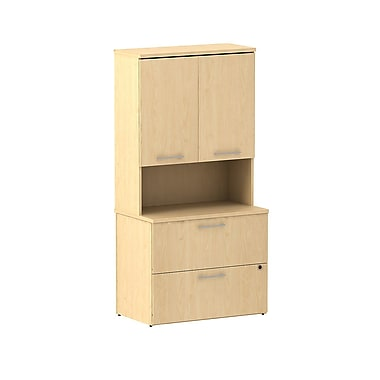 Bush Business 300 Series 36W 2 Drawer Lateral File with 36W Hutch Storage with Doors, Natural Maple, Installed