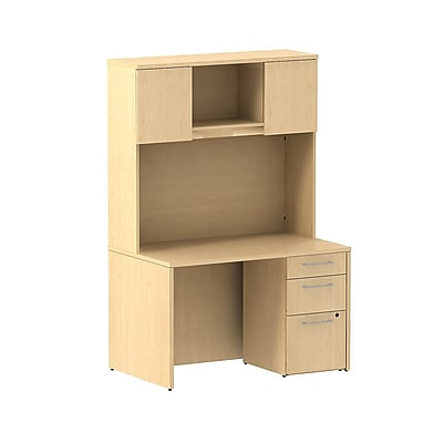 Bush Business Furniture Emerge 48W x 30D Desk with 3 Drawer Pedestal and 48W Hutch Installed, Natural Maple (300S079ACFA)