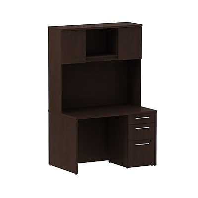 Bush Business Furniture Emerge 48W x 30D Desk with 3 Drawer Pedestal and 48W Hutch Installed, Mocha Cherry (300S079MRFA)