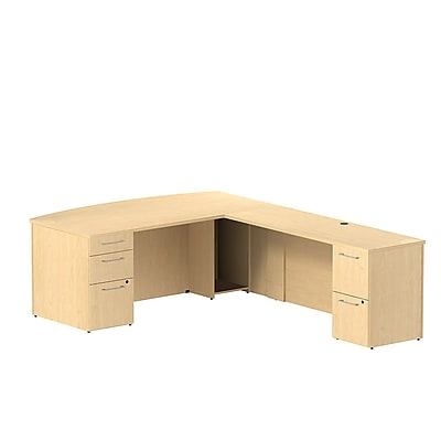 Bush Business Furniture Emerge 72W x 36D Bow Front L Shaped Desk with 2 Pedestals Installed, Natural Maple (300S080ACFA)