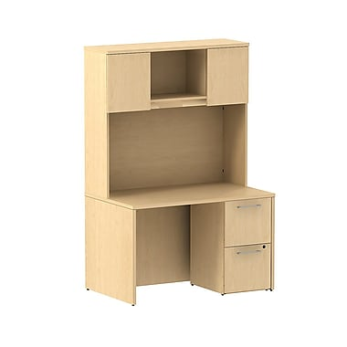 Bush Business Furniture Emerge 48W x 30D Desk with 2 Drawer Pedestal and 48W Hutch Installed, Natural Maple (300S081ACFA)