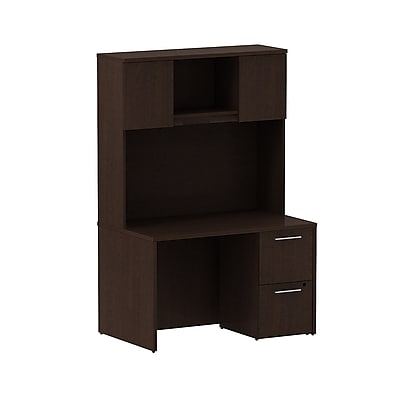 Bush Business Furniture Emerge 48W x 30D Desk with 2 Drawer Pedestal and 48W Hutch Installed, Mocha Cherry (300S081MRFA)
