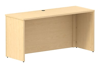 Bush Business 300 Series 60W X 22D Shell Desk, Natural Maple, Installed