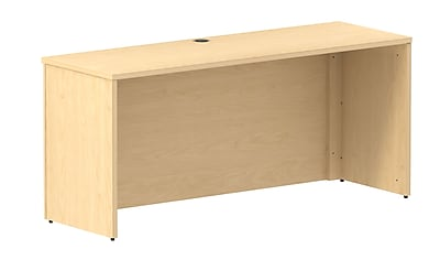 Bush Business 300 Series 66W X 22D Shell Desk, Natural Maple, Installed