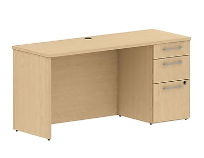 Bush Business 300 Series 60W X 22W Single Ped Desk, Natural Maple, Installed