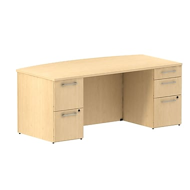 Bush 300 Series Bow Front Double Pedestal Desk, Natural Maple