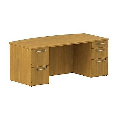 Bush 300 Series Bow Front Double Pedestal Desk, Modern Cherry