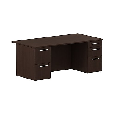 Bush Business 300 Series 72W Double Pedestal Conference Desk, Mocha Cherry