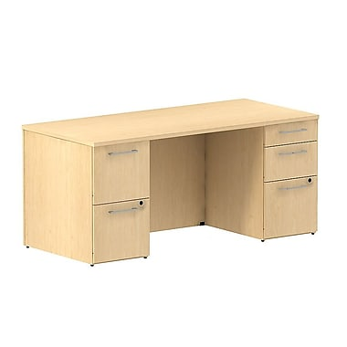 Bush Business 300 Series 66W Double Pedestal Desk, Natural Maple