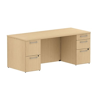 Bush Business 300 Series 72W Double Pedestal Desk, Natural Maple, Installed