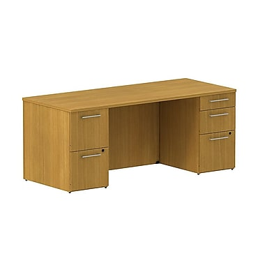 Bush 300 Series Double Pedestal Desk, Modern Cherry