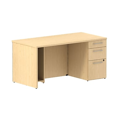 Bush Business 300 Series 60W Single Ped Desk, Natural Maple, Installed