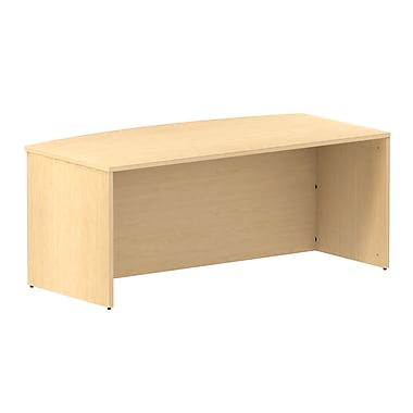 Bush Business 300 Series 72W Bow Front Shell Desk, Natural Maple, Installed