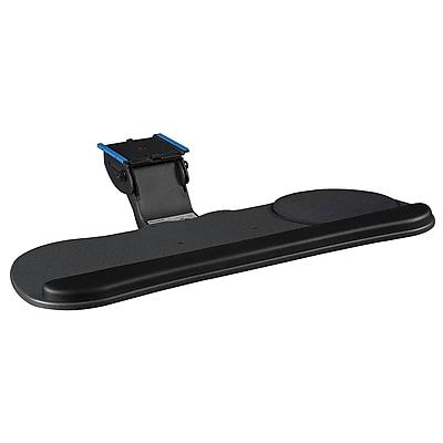 Bush Business Deluxe Articulating Keyboard Tray (medium track), Black, Installed