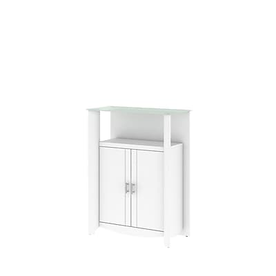 Bush Furniture Aero Library Storage Cabinet with Doors, Pure White (MY16191-03)