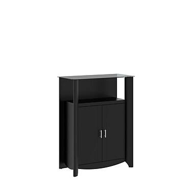 Bush Furniture Aero Library Storage Cabinet with Doors, Classic Black (MY16991-03)
