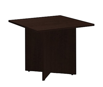 Bush Business 36'' Square Conference Table, Mocha Cherry, Installed (99TB3636MRFA)