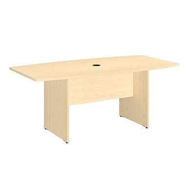 Bush Business 72L x 36W Boat Top Conference Table with Wood Base, Natural Maple