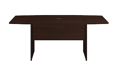 Bush Business 72L x 36W Boat Top Conference Table with Wood Base, Mocha Cherry