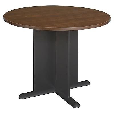 Bush Business Westfield 42W Round Conference Table, Cappuccino Cherry/Graphite Gray, Installed