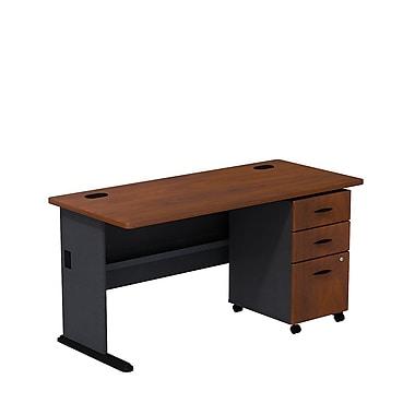 BushMD – Ensemble bureau 60 po et classeur sur roulettes à 3 tiroirs, collection Cubix, fini cerisier Hansen/galaxie