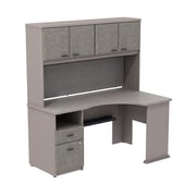 Bush Business Cubix 60W Single Pedestal Corner Desk with Hutch, Pewter/White Spectrum