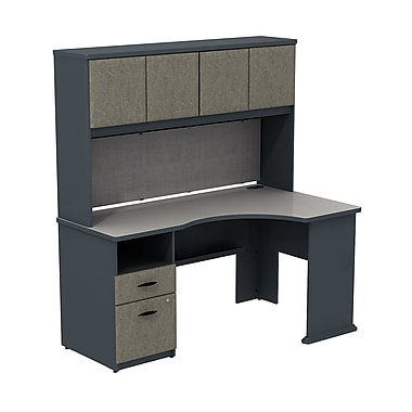 Bush – Ensemble bureau en coin prolongeable Cubix et étagère de 60 po, fini gris ardoise/spectre blanc