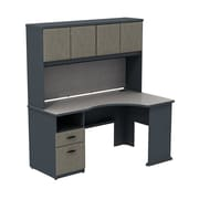 Bush Business Cubix 60W Single Pedestal Corner Desk with Hutch, Slate/White Spectrum